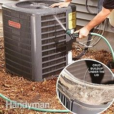 DIY Air Conditioning Service Repair You may be able to repair your air conditioner just by cleaning the condenser coils. Air Conditioning Services, Heating And Air Conditioning, Clean Air Conditioner, Hvac Maintenance, Hvac Repair, Garage Door Springs, Diy Home Repair, Home Repairs, Diy Home Improvement