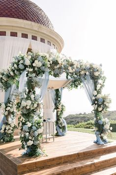 greenery and blue wedding backdrop 18 Blue Wedding Decorations, Wedding Colors, Wedding Centerpieces, Baby Blue Weddings, Baby Blue Wedding Theme, Winter Weddings, Romantic Weddings, Wedding Bouquets, Marie