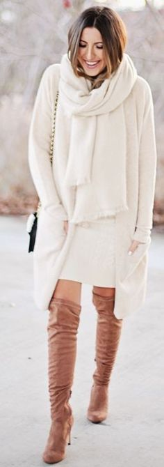 Winter Whites And Camel Overknees Fall Street Style Inspo by Stephanie STERJOVSKI #winter