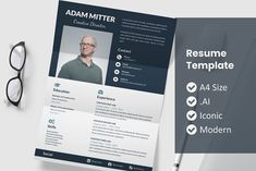 Resume Design Template, Resume Templates, Design Templates, Resume Words, New Job, Brochure Design, Website Template, School Design, Trust