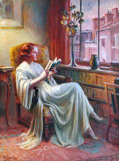 Femme Lisant Pres de la Fenetre.  Delphin Enjolras (French, Academic, 1857-1945).Oil on canvas.