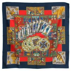 Second hand Hermès Le tarot Square scarf Blue €295, guaranteed and certified authentic. Get your Square scarf Hermès on InstantLuxe.com