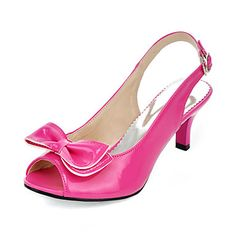 fba1989ceb8 Patent Leather Kitten Heel Sandals   Peep Toe With Bowknot Party  amp   Evening Shoes (