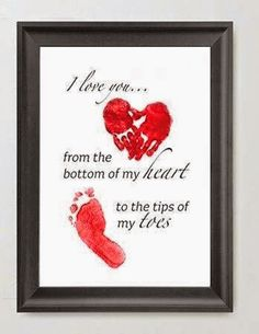 """I LOVE YOU...FROM THE BOTTOM OF MY HEART, TO THE TIP OF MY TOES"" Make this adorable custom artwork and save those precious hand and foot prints forever. Print the image out, add feet prints and/or hand prints, frame in and inexpensive frame and you have unique, personalized, lasting piece of artwork. These make a great gift for baby shower, 1st birthday, fathers day, Mothers day, Sweetest Day, Valentines Day, or Grandparent's Day"