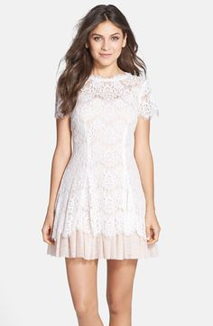 Short Sleeve Lace Fit & Flare Dress