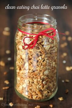 Chai Latte Granola that tastes exactly like the drink! Just 7 ingredients & NO refined sugar in this healthy, clean-eating treat!