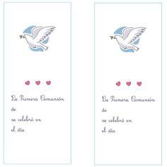 marcapágina con paloma para imprimir First Holy Communion, Printable, Invitations, Princesses
