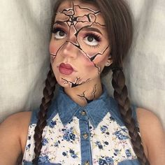 Cracked Doll re-creation of @pastelpegasus  #halloween #makeup #costume