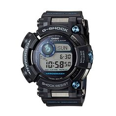Information on the new Casio G-Shock Frogman diving watch with depth sensor, compass, and thermometer, including where to buy it. G Shock Watches, Sport Watches, Watches For Men, Men's Watches, Luxury Watches, Casio G Shock Frogman, Solar Watch, Digital Watch, Men's Clothing