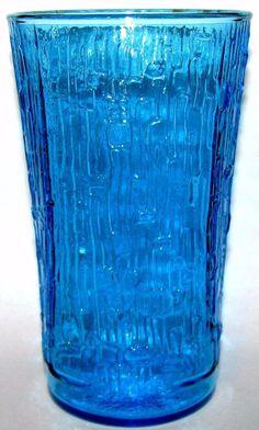 "Anchor Hocking PAGODA Laser Blue TUMBLER Cooler Glasses Lot of 6 Mid Century Modern 5"" tall by libertyhallgirl on Etsy $49.99"