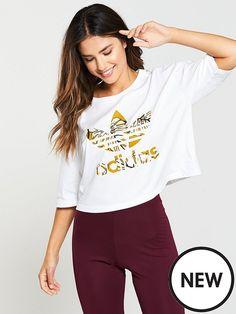 adidas Originals X Farm Crop Tee - White Crop Tee, Adidas Originals, Latest Fashion, Tees, Shopping, Women, Xmas, T Shirts, Crop Shirt