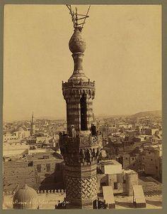 Bonfils c 1880 Minaret of Al Azhar Mosque with muezzins, Cairo Egypt Egypt Tourism, Egypt Travel, Visit Egypt, Beautiful Mosques, Nile River, Cairo Egypt, Old City, Islamic Art, Aerial View