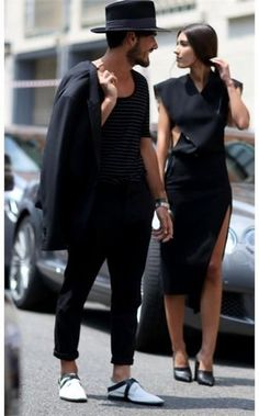 Patricia Manfield & Giotto Calendoli All black and fancy clothes. Stylish Couple, Street Style, Fashion Couple, Matches Fashion, Couple Outfits, Minimalist Fashion, Her Style, Street Wear, Menswear