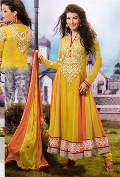 Beautiful Yellow Party Wear Salwar Salwar Kameez Set INHSPMIS5006 - www.indianwardrobe.com