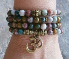 Nurturing Ocean Jasper 108 Om Mala Bracelet or Necklace Reiki charged, Buddhist Rosary, Prayer beads, Gemstone mala, Free shipping