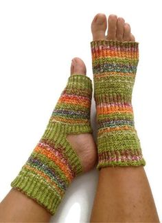 Toeless Yoga Socks Hand Knit in Green and Orange by MadebyMegShop, $30.00