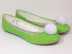 All you need is faith, trust, and pixie dust with these new sparkly TInkerbell inspired flats. Sizes: Women: 5-13 (half sizes up to 9.5 and