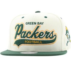 ea8e62e7e28 Mitchell And Ness Green Bay Packers STA3 Structured Snapback Cap (white    green) NL20Z-6PACKEWGN -  26.00