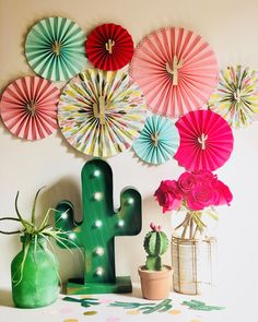 Cactus Party Paper Fans #cactusparty #pinkcactus