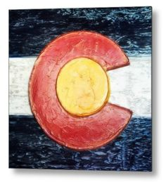 "Colorado Flag Decor metal print, from an original plaster wall art piece, by Russell Latino. Printed directly onto a sheet of 1/16"" thick aluminum. The aluminum sheet is offset from the wall by a 3/4"" thick wooden frame which is attached to the back. The high gloss of the aluminum sheet complements the rich colors of the image to produce stunning results. Ships within 2-3 business days."