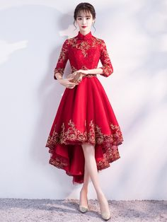 Red Dip Hem Qipao / Cheongsam Abendkleid - home design Dress Outfits, Fashion Dresses, Prom Dresses, Formal Dresses, Long Dresses, Elegant Dresses, Pretty Dresses, Beautiful Dresses, High Low Evening Dresses
