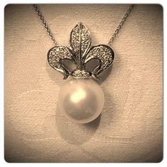Fluer-de-lis Pearl & Diamond Accent Necklace