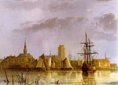 'View at Dordrecht', by Aelbert Jacobz Cuyp, 1650. (1620-1691) was one of the leading Dutch landscape painters of the Dutch Golden Age in the 17th century. The most famous of a family of painters, the pupil of his father Jacob Gerritsz. Cuyp, he is especially known for his large views of the Dutch countryside in early morning or late afternoon light. Sunlight in his paintings rakes across the panel, accentuating small bits of detail in the golden light. In large, & panoramas of the…