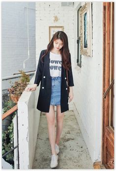 All Korean Fashion items up to 70% OFF! CHERRYKOKO - Notched-Lapel Linen Blend Coat #coat #navyblue