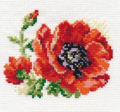 Cross-stitch Red poppy from Alice collection