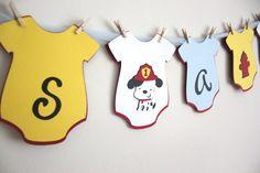 Baby Shower Banner - It's a Boy-  Fireman - Onesie style. $25.00, via Etsy.