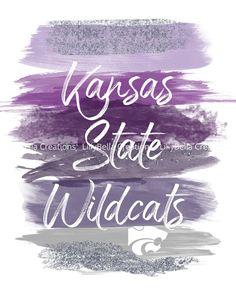 KSU Wildcat - Kansas State University Watercolor Brush Art Print with Quote: x ~ Kansas State Wildcats, Manhattan Kansas, Purple Light Wood Background, Plain White Background, Kansas State University, Kansas State Wildcats, Watercolor Quote, Watercolor Brushes, Manhattan Kansas, Manhattan Map, Kansas Map