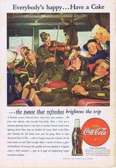 Coca Cola Military Vintage Ad from 1945, men and women in military outfits riding on a train or bus