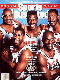 The 1992 U. men's Olympic basketball team (a. The Dream Team) covers the February 1991 issue of Sports Illustrated. The players covering the issue were Charles Barkley, Patrick Ewing, Karl Malone, Magic Johnson, and Michael Jordan. Magic Johnson, Shawn Johnson, Karl Malone, Patrick Ewing, 1992 Olympics, Summer Olympics, Basketball Pictures, Sports Pictures, Team Pictures