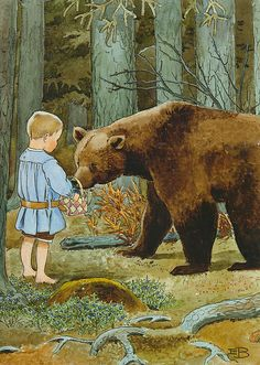 Bear and child in forest - Elsa Beskow (Swedish illustrator, Elsa Beskow, Art And Illustration, Book Illustrations, Abc Poster, Bear Art, Illustrators, Fairy Tales, Artwork, Bears
