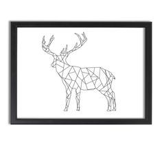 Deer standing, Geometric, lines, abstract, artistic, picture, artwork, home decor, pattern, modern, line art, black and white by PureImageDesigns on Etsy