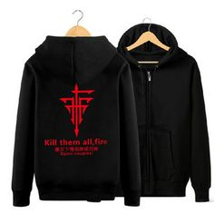 Camplayco Baka and Test FFF Team Logo Cosplay Black Hoodies Warm Coat Size XXL ** For more information, visit image link.