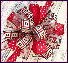 Red White and Blue Stars and Stripes Bow Patriotic Bow 4th