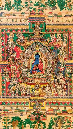 This Thangka is the first composition of the sets of paintings of the Blue Beryl and depicts Medicine Buddha in the center of a Mandala of Medical plants. Thangka Painting, Tibetan Art, Buddhist Art, Sanskrit, Deities, Ayurveda, Buddhism, Bohemian Rug, Medicine