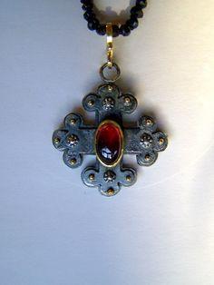 """Glanz und Gloria-Collection"" 2012 - neclace, silver, gold, garnet - Handmade Jewelry by Nicole Bolze ORIGINALS"