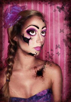 Broken Doll Halloween Masquerade, Halloween 2013, Masquerade Party, Halloween Ideas, Halloween Face Makeup, Scary Doll Makeup, Broken Doll Makeup, Scary Dolls, Doll Costume
