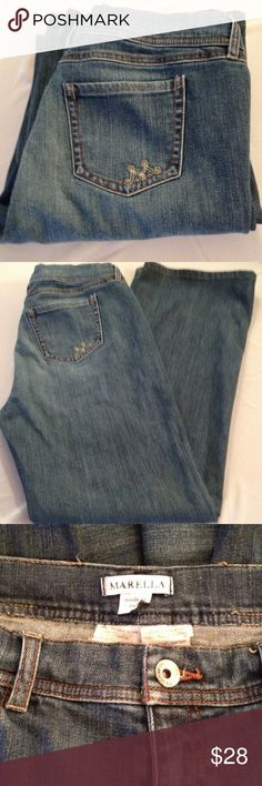 "Marella Jeans 'M' stitching on back pocket. Waistline 38"". Waistline to crotch 9"". Inseam 30"". Marella Jeans Boot Cut"