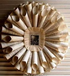 Paper wreath.  Old Book Pages re-invented