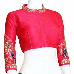 Designer silk saree blouse with long sleeve. Embroidery on mandarin collar and sleeve with real mirr Saree Jacket Designs, New Saree Blouse Designs, Saree Designs Party Wear, Patch Work Blouse Designs, Designer Silk Sarees, Stylish Blouse Design, Designer Blouse Patterns, Collor, Mandarin Collar