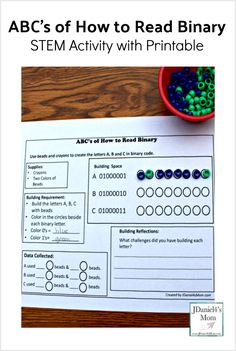 ABC's of How to Read Binary STEM Activity with Printable - This is a fun way hands on way to teach your kids about coding. They will get to work on fine motor skills, learn about binary numbers, and color all in the same activity. This code activity cov Math Activities For Kids, Science For Kids, Teaching Kids, Computer Coding, Computer Science, Computer Lab, Stem Classes, Coding For Kids, Stem Challenges