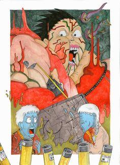 """Omaggio al film """"Akira"""" di Katsuhiro Otomo Illustrazione: Sabina Meschisi Acquerelli su cartoncino bianco cm 24 x 33,5   Tribute to """"Akira"""" by Katsuhiro Otomo Watercolor on paper white cm 24x33"""