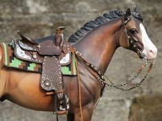 Pam Perkins Western Saddle Set With 2 Pads . Model horse