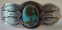 Vintage Navajo Indian Sterling Silver Applied Arrows Turquoise Cuff Bracelet