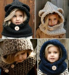 Winter is here, days are getting colder. I found this awesome and original pattern designs in knit and crochet. Crochet patterns for animals hats. Knitting Projects, Crochet Projects, Knitting Patterns, Crochet Patterns, Crochet For Kids, Crochet Baby, Knit Crochet, Crochet Hoodie, Trendy Fashion Jewelry