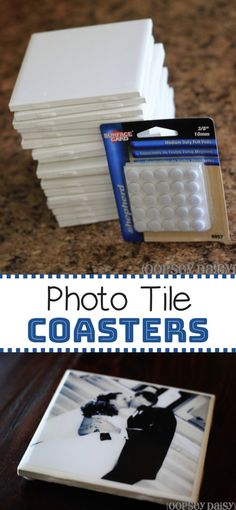 This easy DIY project is so much fun! These photo tile coasters make for fabulous gifts, and they're really cheap to make with plain white tiles and resin. crafts to sell Great gift idea! These easy DIY photo coasters are super cheap to make! Tile Crafts, Fun Diy Crafts, Diy Craft Projects, Photo Projects, Diy Tiles, Room Crafts, Diy Resin Crafts, Tile Projects, Homemade Crafts