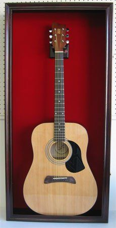 AmazonSmile: LARGE Acoustic Guitar Display Case Cabinet, Fit most Guitars, with Lock, Mahogany Finish: Musical Instruments